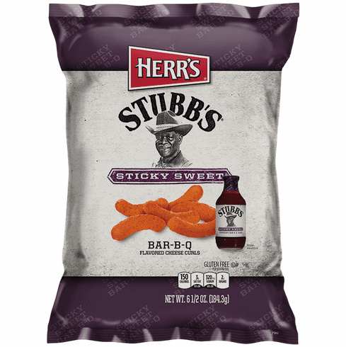 Herr's® Stubbs Sticky Sweet BAR-B-Q Cheese Curls (12) 6.5 oz. bags per case