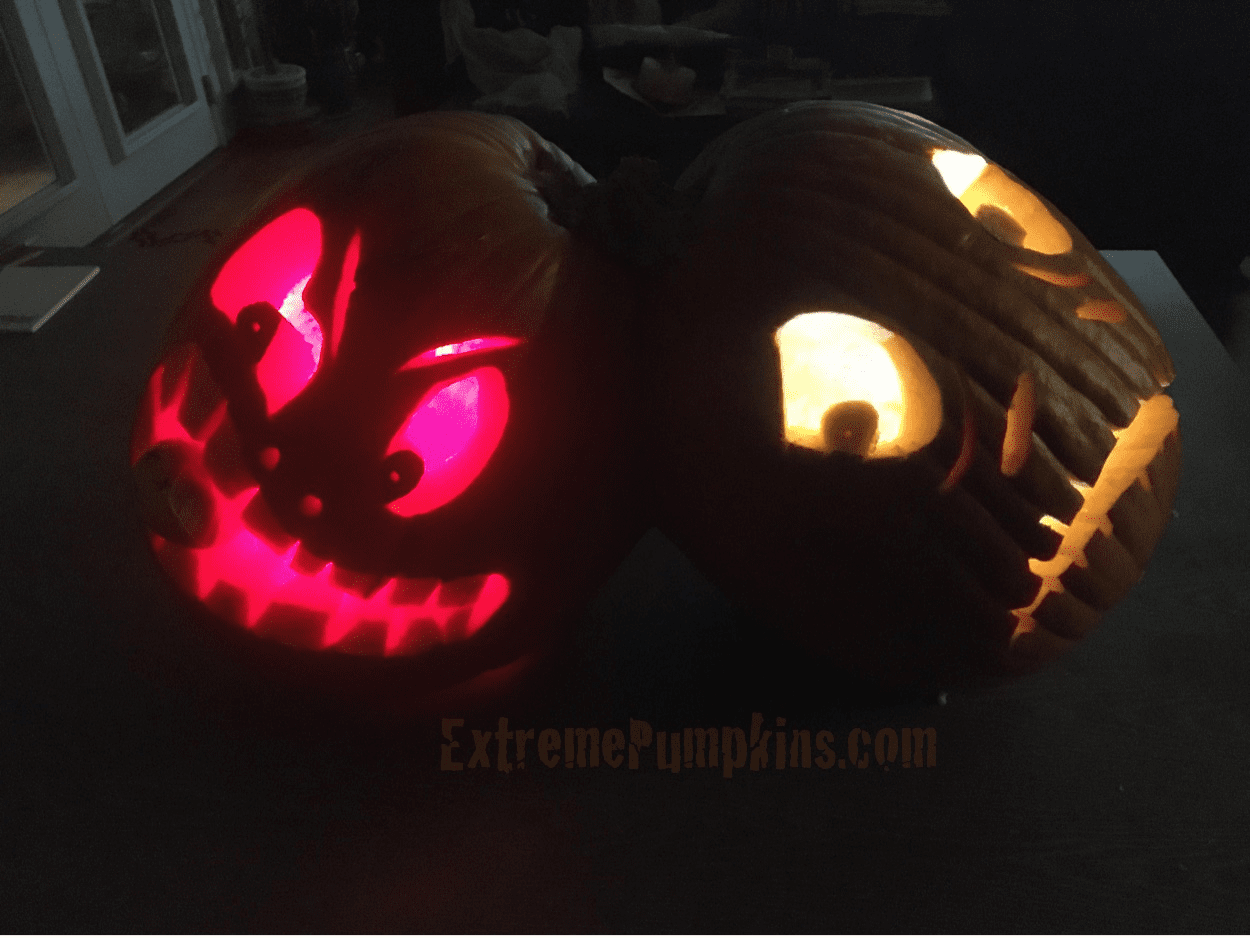 A Great Conjoined Pumpkin Carving