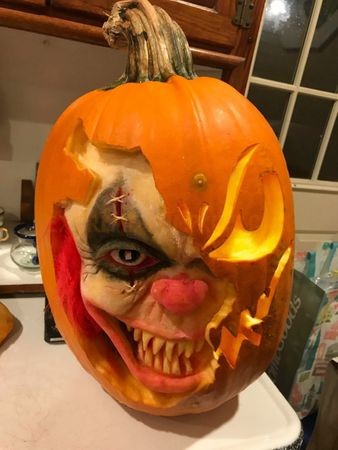 The Creepiest Clown Pumpkin
