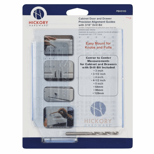 """Hickory Hardware PBH3103 Mounting Templates Door & Drawer Alignment Guides W. 3/16"""" Drill Bit Clear Blue"""