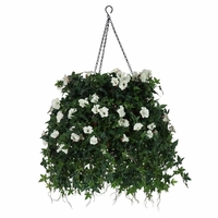 """16"""" Hanging Basket with Artificial Morning Glory Flowers - 5 Colors"""