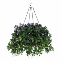 """18"""" Hanging Basket with Artificial Morning Glory Flowers - 5 Colors"""