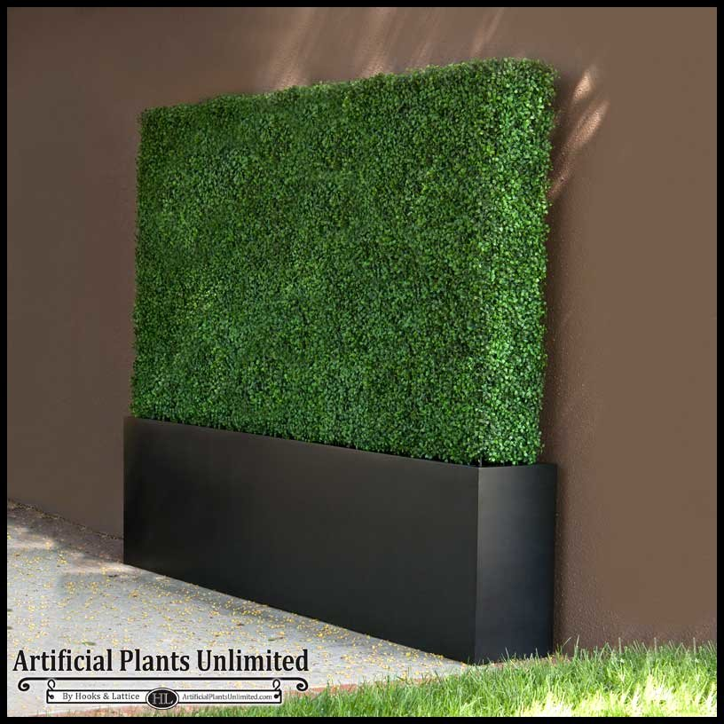boxwood outdoor artificial hedges with modern planters 96in.l x 12in.w Artificial Plants for Outdoor Planters