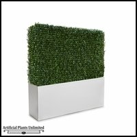 Duraleaf Boxwood Outdoor Artificial Hedge in Modern Fiberglass Planter 72inL x 12inW