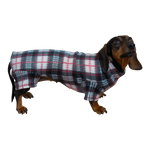 Dachshund Indoor/Outdoor Bodysuit - Black/White/Red Plaid
