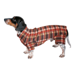 Dachshund Indoor/Outdoor Bodysuit - Brown Plaid