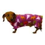Dachshund Indoor/Outdoor Bodysuit - Plum Holiday Trees