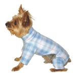Toy & Teacup Fleece Jammies - French Blue Plaid