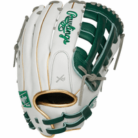 13 Inch Rawlings Liberty Advanced Color Series RLA130-6DG Women's White/DarkGreen/Gold Fastpitch Softball Glove