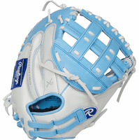 33 Inch Rawlings Liberty Advanced Color Series RLACM33FPCB Women's White/ColumbiaBlue Fastpitch Softball Catcher Mitt