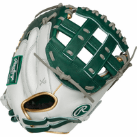 33 Inch Rawlings Liberty Advanced Color Series RLACM33FPDG Women's White/DarkGreen/Gold Fastpitch Softball Catcher Mitt
