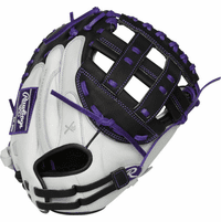 33 Inch Rawlings Liberty Advanced Color Series RLACM33FPPU Women's White/Purple/Black Fastpitch Softball Catcher Mitt