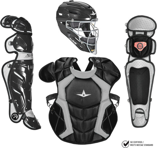 All-Star CKPRO1 System 7 Professional Adult Catchers Gear Set Silver