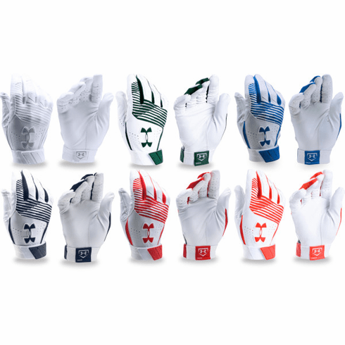 M L Under Armour Clean Up Batting Gloves YOUTH S Baseball Softball B39 White