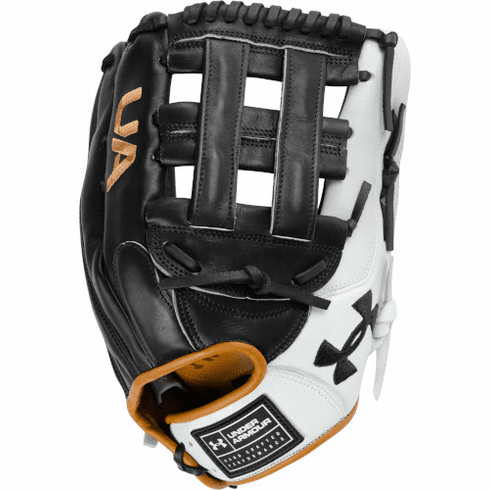 Under Armour Genuine Pro 2.0 12.75 Inch Black/White/Caramel Adult Outfield Baseball Glove UAFGGP2-1275H