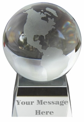 "Clear Engraved Glass Globe Paperweight 3"" ( 80mm )"