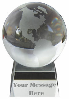 Clear Engraved Glass Globe Paperweight 3