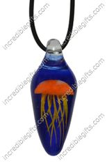 Jellyfish Necklace Glass Pendant - Glows in the Dark - Orange Jellyfish with Blue