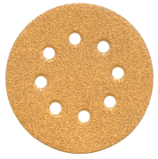 "5"" 8-Hole GoldStar Hook & Loop Sanding Discs, P120 Grit, Box of 50."