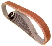 "Aluminum Oxide Sanding Belts, 1"" by 30"", 220 Grit, Pack of 10."
