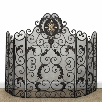 5 Panel Iron Monogram Fire Screen