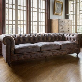 Aged Leather Library Sofa