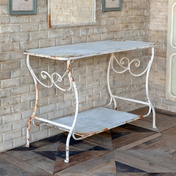 Aged White Garden Table