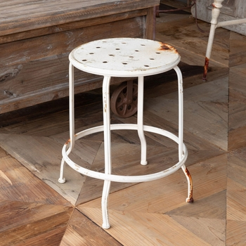 Aged White Metal Stool (Set-2)