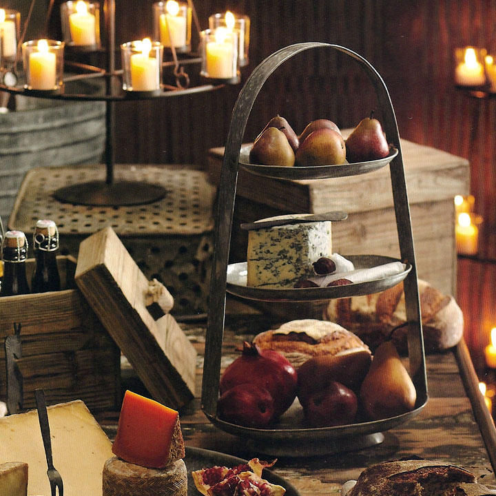 Iron Candle Stand Designs : Alvarado tiered stand with handle iron accents