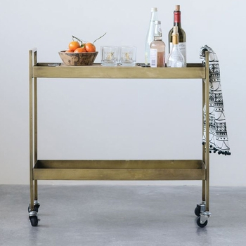 Antiqued Brass Bar Cart