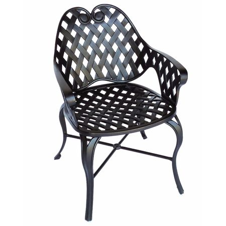 Three Coins Arch Weave Chair Iron Accents