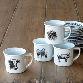 Barnyard Coffee Mugs (Set-4)