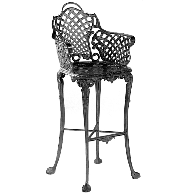 Three Coins Basketweave Bar Stool Iron Accents