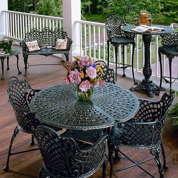 Basketweave Aluminum Patio Furniture Collection