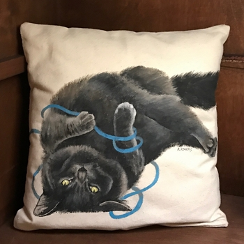 Black Cat Handpainted Pillow -CS