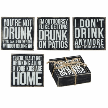 Box Sign Coasters - Drinking -CS