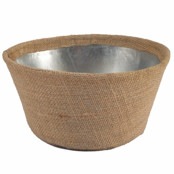Burlap Covered Tin Basket