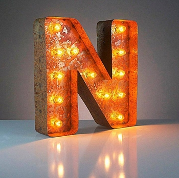 Vintage Lighted Letter - N -CS