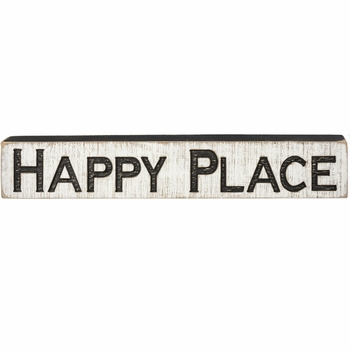 Carved Sign - Happy Place - Wide