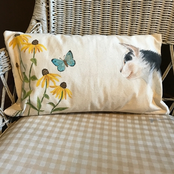 Cat & Flowers Handpainted Pillow -CS