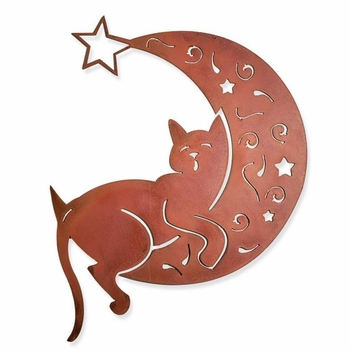 Cat on the Moon Metal Wall Art
