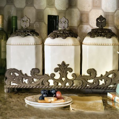 The Gg Collection Ceramic Canister Set Iron Accents