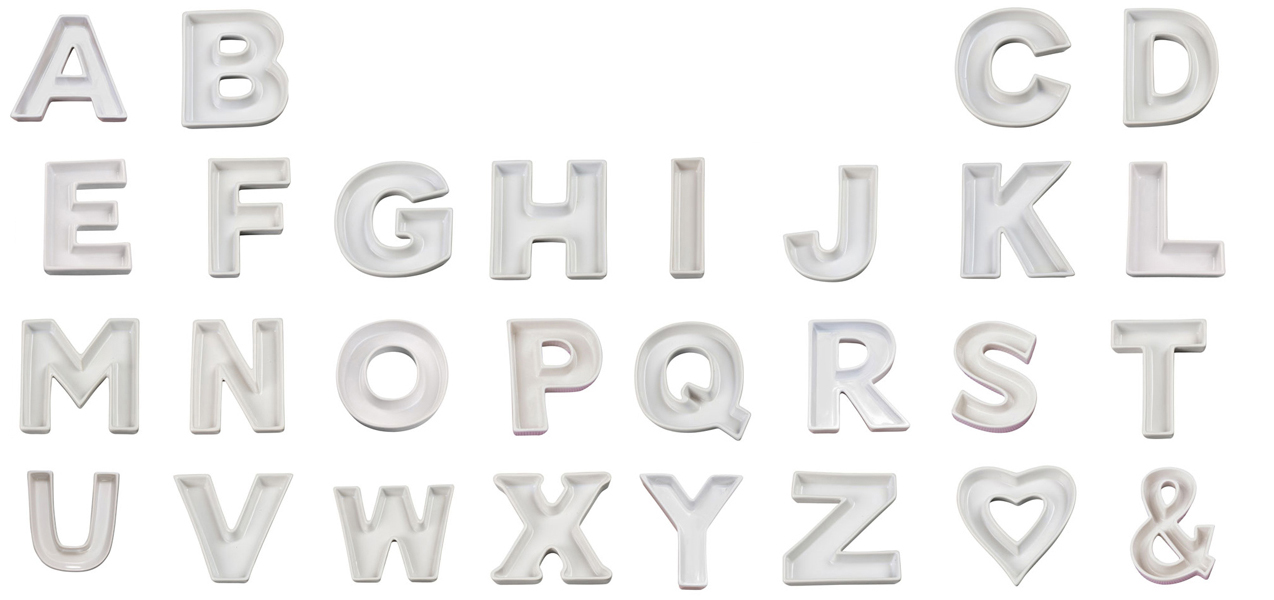 Ceramic Letter Candy Dishes Iron Accents