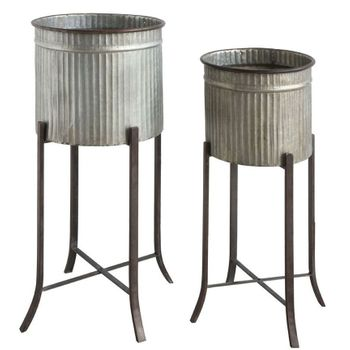 Fluted Metal Planters (Set-2)