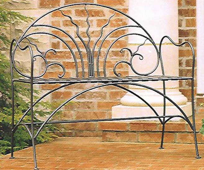 Stone County Courtyard Iron Bench Iron Accents
