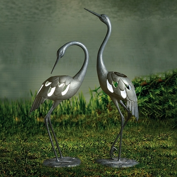 Crane LED Garden Sculpture