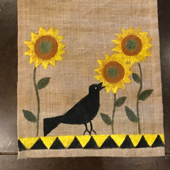 Crow Hand Painted Runner