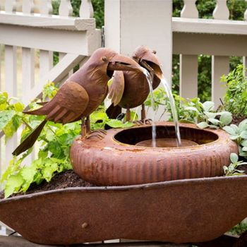 Crows Folk Art  Water Fountain