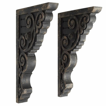 Distressed Black Corbels (Set-2)