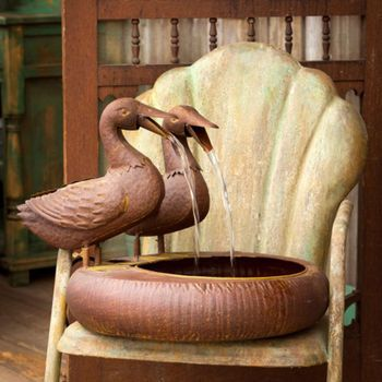 Duck Folk Art Water Fountain